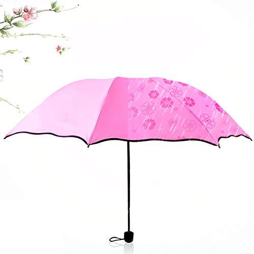 FoldingTravel Umbrella Tragbare Kompaktschirme mit winddichtem UV-Schutz Sonnenschirm - Gummi Sonnenschutz Modedesign (Pink)