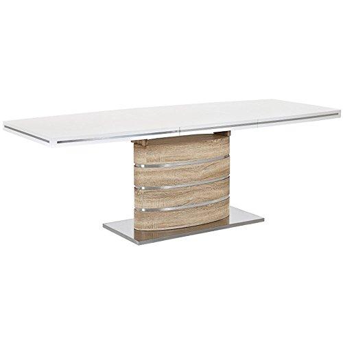 JUSTyou Fano Table à rallonge Blanc laqué haute brillance/Sonoma Chêne 77x 90 x 140-200 cm