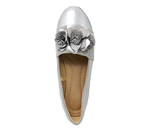 SHP123 * Mocassins Slippers Effet Daim Gris avec Multi Fleurs, Bout Satiné et Semelle Blanche Gris