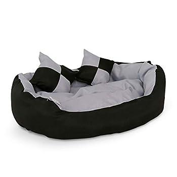 Dibea Lit,Coussin, Canapé Lavable avec Coussin Réversible pour chien, Gris et Noir,  65 x 50 x 20 cm