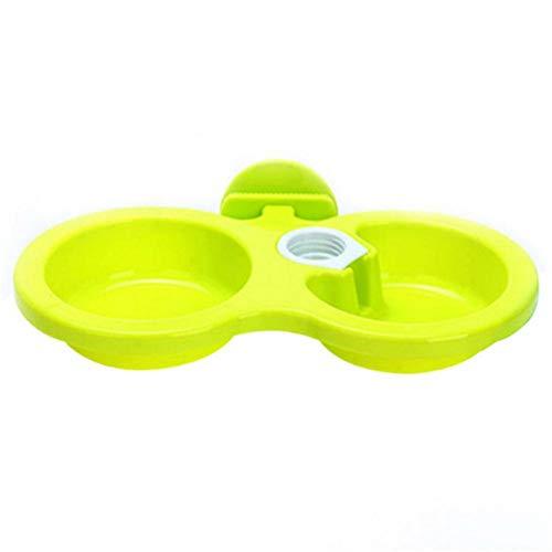 WANFAN Ciotola Gatti di plastica per Cani da Compagnia Appendere Piatti Ciotole Alimentatore per Alimentazione in Gabbia Irrigazione Materiale Non tossico Dispenser d'Acqua per Grandi Cani, Verde, S