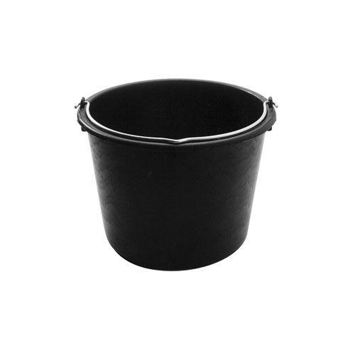Xclou Baueimer ca. 12 Liter in Schwarz, robuster Wassereimer aus hochwertigem PE Regenerat, runder Putzeimer mit Metallhenkel, praktischer Zementeimer mit Abgießrand und Literskala
