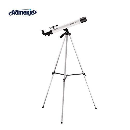 Aomekie Teleskop Kinder Einsteiger 50/600 Fernrohr Teleskop Astronomisches Teleskop mit Ausziehbares Aluminium Stativ und Suchfernrohr für Himmelsbeobachtung und Landschaftsbeobachtung