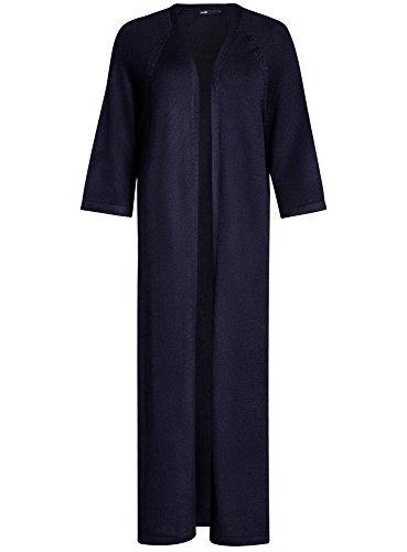 oodji Ultra Damen Langer Verschlussloser Cardigan Blau (7900N)