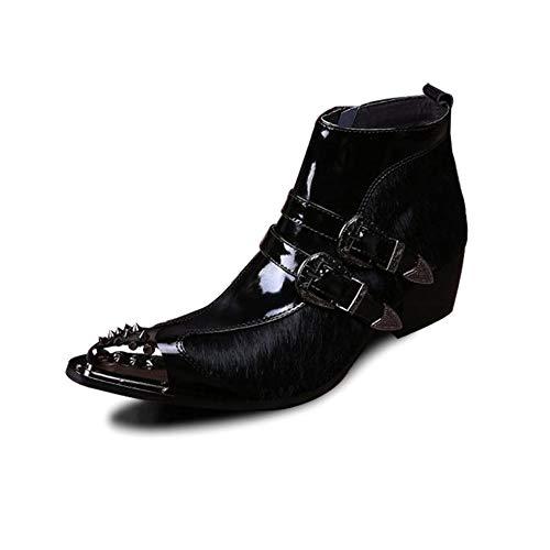 Rui Landed Ankle Boot für Männer High Top Boot Slip On Style Premium Echtleder und Fell Obermaterial Double Monk Strap Metallspitz Zipper High Heel Nachtclub (Color : Schwarz, Größe : 40 EU) Double Strap Ankle Boot