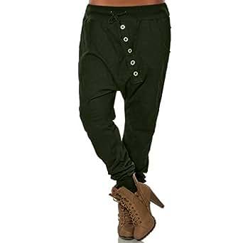 Jogging Tricot Doux Pantalon Confortable Femmes Boutons Chic Hipsters Sarouel Bloomers Mode SANFASHION(Armée,S)