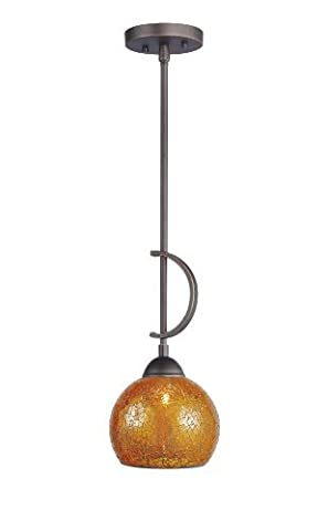 Woodbridge Lighting 13023MEB-M00AMB North Bay 1-Light Mini-Pendant, 6-Inch by 45-1/4-Inch,