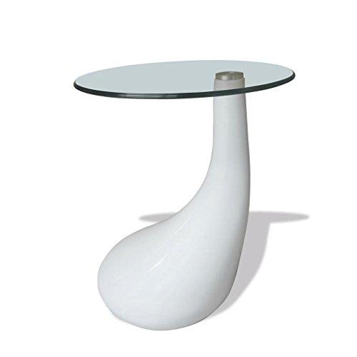 Wakects - Mesa para sofá (Cristal Blanco Brillante, Cristal de ...