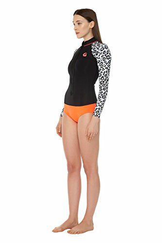 glidesoul Damen Reißverschluss Vorne Spring Suit XS Black/leopard/peach