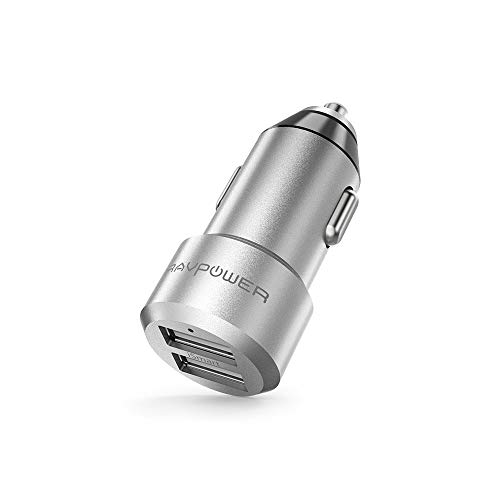 Auto Ladegerät RAVPower 2-Port 24W 5V/4.8A Mini Auto Ladeadapter mit Aluminium-Legierung Gehäuse iSmart Technologie für iPhone X XS XR XS Max 8 7 6 Plus, iPad Pro Air Mini, Galaxy S9 S8 Plus, LG, Huawei, HTC usw.
