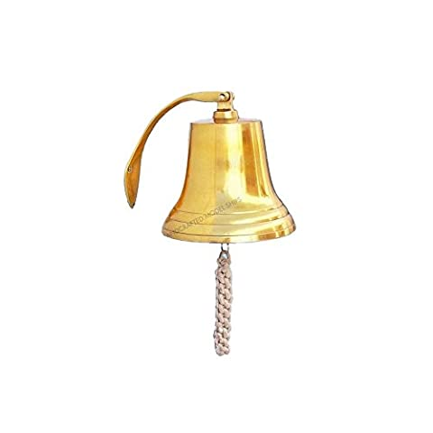 Handcrafted Model Ships BL2021-11B Brass Hanging Harbor Bell 10 in. Bells Decorative Accent