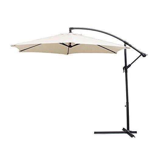 Hengda® 3.0m Beige Sonnenschirm Garten Schirm Marktschirm Ampelschirm Kurbel Schirm für Garten, Terrasse, Loggia, Balkon, Camping-Platz, Pool, Planschbecken