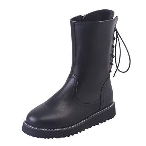 Beladla Botas De Mujer Invierno Nieve Botas Martin Botas Cabeza Redonda TalóN Plano Inglaterra Zapatos De Mujer Mantener Caliente Botas De Nieve Zapatos De Interior