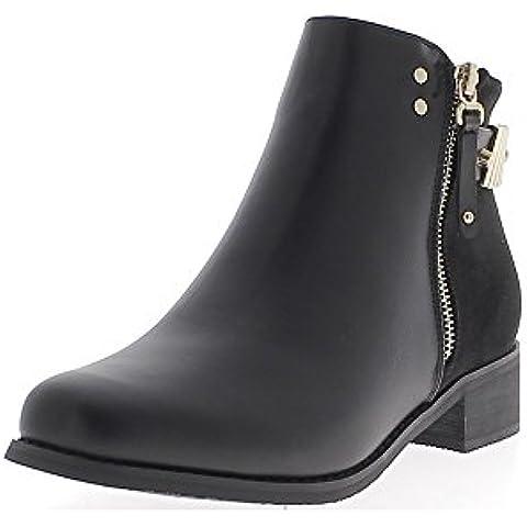 Stivali con tacco 3,5 cm camoscio e look in pelle
