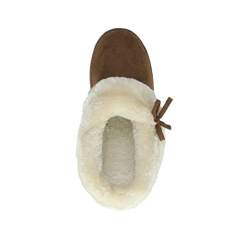 Femmes talon bas doux en fausse fourrure bottes chaussures pantoufles pointure Brun Roux