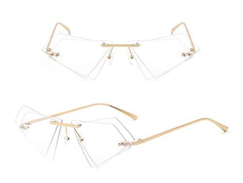 WSKPE Sonnenbrille,Rahmenlose Cat Eye Sonnenbrille Weiblichen Kleines Dreieck Sonnenbrille Frauen Unregelmäßige Duble Objektiv Gläser Uv 400 Gold Rahmen Transparent Linse