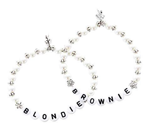 *Blondie Brownie Armband Set 2 Freundschaftsarmbänder beste Freundin Armkettchen Perlen mit Buchstaben*