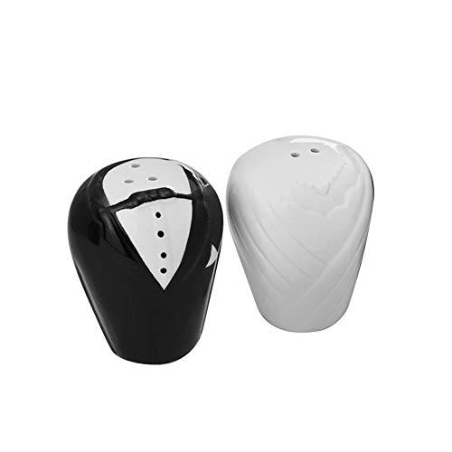 lujiaoshout 2ST Kreative Braut-Bräutigam-Pfefferstreuer Keramik Salz-Pfeffer-Behälter schütteln Caster für Hochzeit Bevorzugungen Weiß und Schwarz