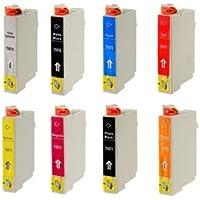 Set di 8 cartucce di inchiostro compatibili per Epson Stylus Photo R1900 stampante miglior sostituto per T0870, T0871, T0872, T0873, T0874, T0877, T0878, T0879, T087040, T087140, T087240, T087340, T087440, T087740, T087840, T087940