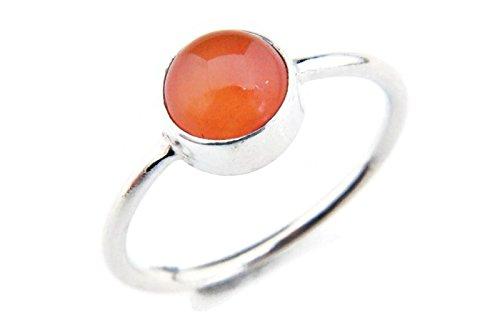 Ring Silber 925 Sterlingsilber Karneol orange rot Stein (MRI 78), Ringgröße:58 mm/Ø 18.5 mm (Orange Braut-schmuck-set)
