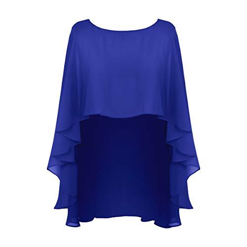 FEESHOW FEESHOW Chiffon Stola Schal Kleid Festlich Hochzeit Bolero Umschlagtuch Brautkleid Abendkleid Elegant Blau One Size