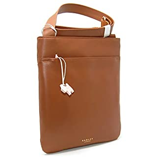 Radley Leather Medium Zip Top Across Body Pocket Bag in Tan RRP £99.00