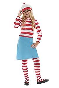 Desconocido Smiffys - Disfraz ¿Dónde está Wally? incl. sombrero, camisa, falda, gafas de sol y las medias, las niñas, tamaño: S