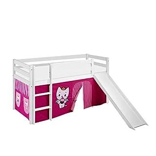 Lilokids Spielbett Jelle Angel Cat Sugar, Hochbett mit Rutsche und Vorhang Kinderbett, Holz, weiß, 198 x 98 x 113 cm