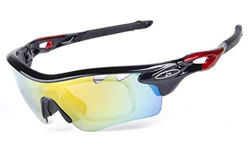 TFGY Polarisierte Radsportbrille, Anti-UV 400 Schutz Radfahren Ultraleicht Sonnenbrillen, Mit 5 Wechselobjektiven, Männer Und Frauen Windundurchlässiger Spiegel Für MTB, Fahrrad, Motorrad,C