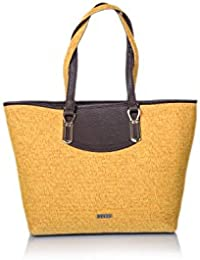 Veuza Paris Premium Jacquard And Faux Leather Sun Yellow Women's Tote