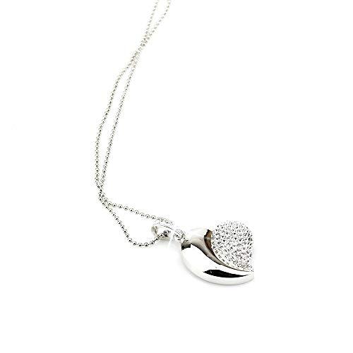Ddge dmms - chiavetta usb da 8 gb a forma di cuore con brillantini, colore: argento