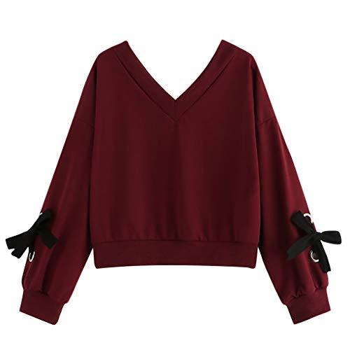 TIMEMEAN Mode Damen Bekleidung Freizeit Lange Ärmel Sweatshirt V-Kragen Bogen Pullover Top - Kragen Scrub Top