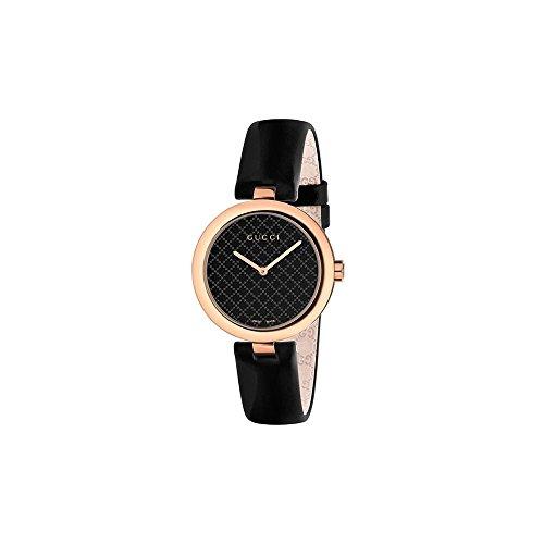 Gucci Women's Diamantissima 32mm Black Calfskin Band Metal Case Swiss Quartz Analog Watch YA141401