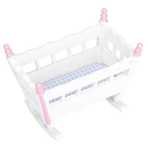 Wiegen Möbel (Zerodis Puppenhaus Mini Baby Wiege Simulation Miniatur Möbel Baby Wiege Spielhaus Spielzeug Ornament für 1/12 Puppenhaus Zubehör)