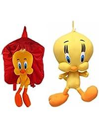 MGP Premium Tweety Kids School Bag (Red) With Tweety Toy 30cm