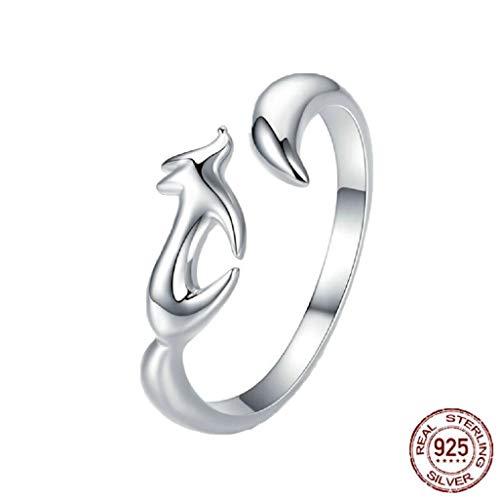 MXH 925 Sterling Silber Ring Weibliche Öffnung Kleiner Fuchs Paarring,925 (Sterling Schmuck-halterungen Silber)