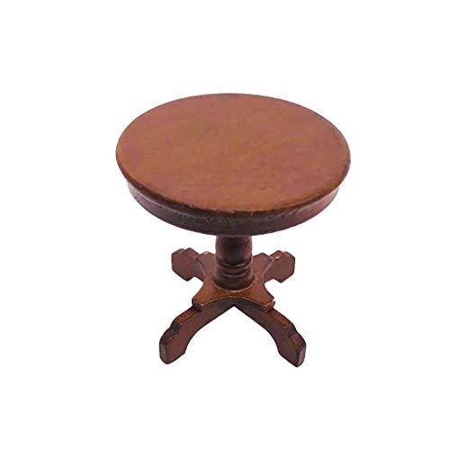 Luccase Runder Tisch Esszimmertische 1:12 Puppenhaus Möbel Miniatur Holz Runden Miniaturtisch Beistelltisch Kinder Pretend Play Spielzeug, 5x5cm (Braun)