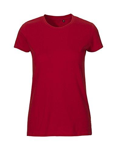 100 Baumwolle Damen T-shirt (-Green Cat- Ladies Fitted T-shirt, 100% Bio-Baumwolle. Fairtrade, Oeko-Tex und Ecolabel zertifiziert, Textilfarbe: rot, Gr.: S)