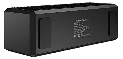 SHARKK® Boombox Bluetooth Lautsprecher Tragbarer Stereo-Lautsprecher mit 18+ Stunden Spielzeit. 10W-Lautsprecher für iPhone, iPad, Samsung und mehr - 6