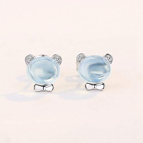 HUIYIN Bär Ohrringe Einfache Temperament Persönlichkeit Nette Mini Ohrringe Pulver Kristall Furong Stein Ohrringe 925 Silber Weiblich Blue -