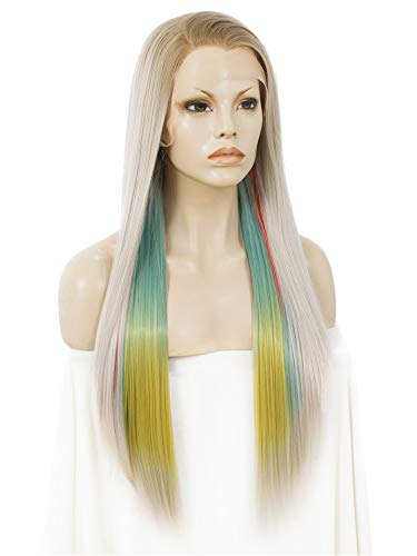 Imstyle Pastel Rainbow Wig Ombre Blonde Straight Synthetic Lace Front 24 inch Trendy Wigs for Woman - Rainbow Lace