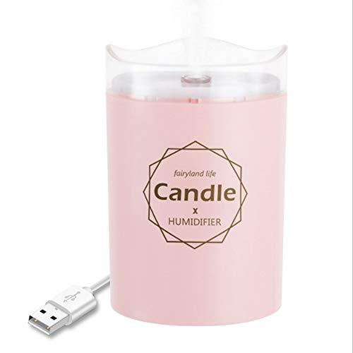 GXLXY Umidificatore ad ultrasuoni a Nebbia Fredda - Umidificatore a Umido a Forma di Candela Mini USB Portatile con Luce Notturna a Luce Calda ad Arresto Automatico per casa e Auto,Pink