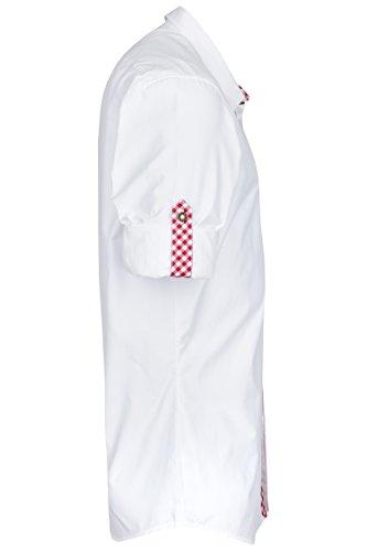 Schlusen Trachtenmode Trachtenhemd Hubert Weiß mit 10 Versch. Kontrastfarben (Gr. XS-XL) mit Krempelärmel Slim Fit Bordeaux