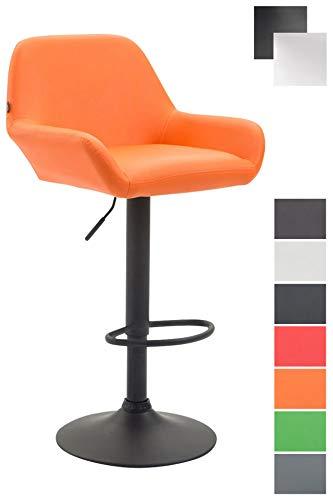 mit Lehne und Kunstlederbezug I Höhenverstellbarer Barstuhl mit Metallgestell I Thekenhocker mit integrierter Fußstütze I In verschiedenen Farben erhältlich Orange, schwarz ()