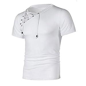 Manadlian Kurzarm Herren Shirt Slim Fit, Mode Persönlichkeit Bandage Männer Casual Schlank Kurzarm Hemd Oberteile Schick und Gemütlich Slim Bluse