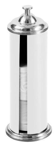 Premier Housewares Portarotolo di carta igienica cilindrico con effetto cromato, colore: Bianco