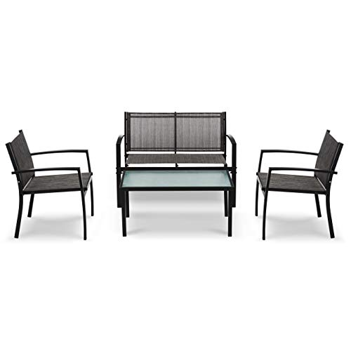 IntimaTe WM Heart Outdoor Textoline Furniture Conservatory Sets with Table and Chairs, Fitting for Garden, Balcony and Coffee House (VENICE - Set of 4)