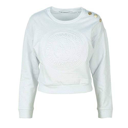 Guess Damen Sweatshirt * Einheitsgröße, Weiß XL (Guess Pullover Wolle)