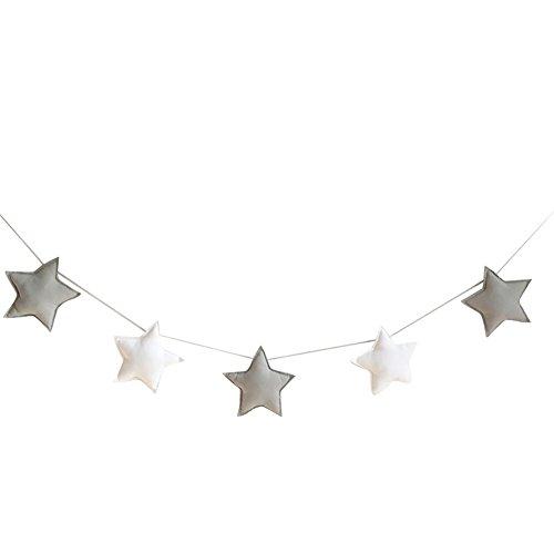 Homeofying Nordic - 5 adornos para colgar con diseño de estrellas, banderines para fiestas infantiles, decoración para habitación de bebé, niños o niñas, tela, Grey + White