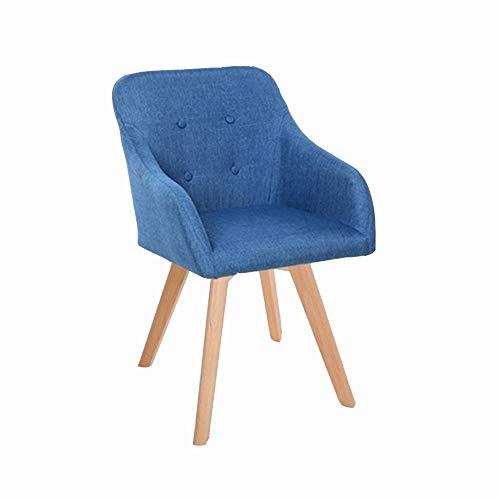 XSJJ Hocker, Home Sofa Schreibtisch Stuhl Massivholz Stoff Esszimmerstuhl Computer Kaffee Balkon Freizeit Stuhl Make-Up Hocker 24 Farbe Optional Holzbank (Farbe : Blue A, größe : 45 * 45 * 81cm)